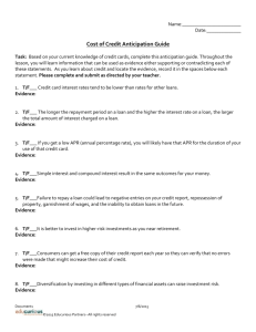 UNIT 3 LESSON 8- Cost of Credit Anticipation Guide