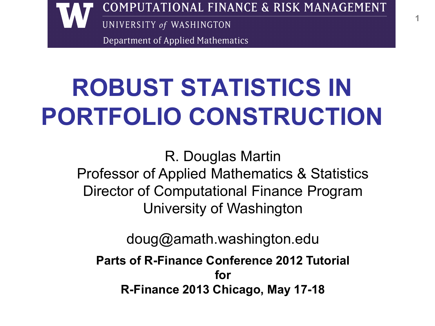 robust stats finance R-Finance 2012 parts for