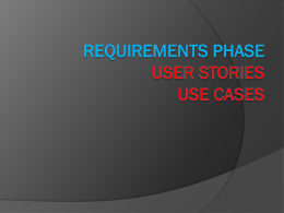 user stories, use cases