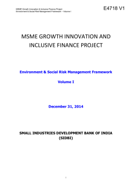 MSME Growth Innovation & Inclusive Finance Project