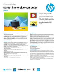 sprout by hp Spec Sheet: .doc