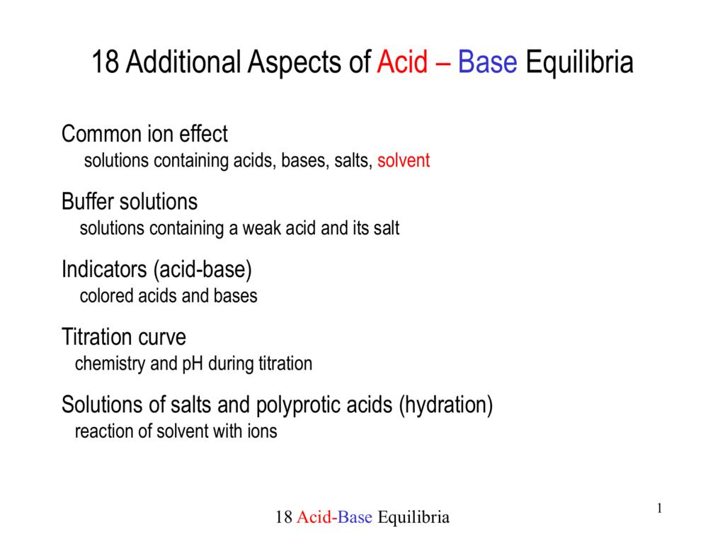16 Acid-Base Equilibria