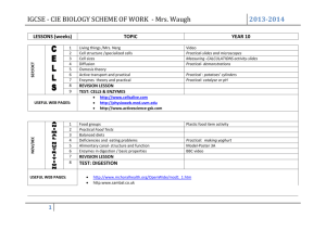 IGCSE - CIE BIOLOGY SCHEME OF WORK