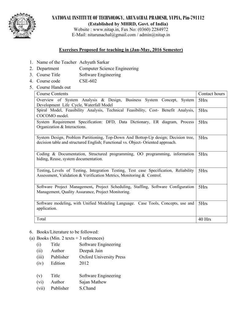 Cse 602 Nit Arunachal Pradesh