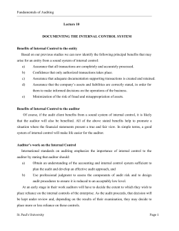 Fundamentals of Auditing Lecture 10 DOCUMENTING THE