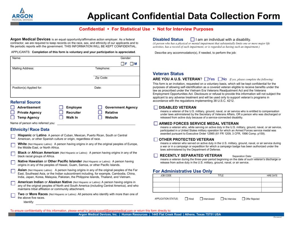 Applicant Confidential Data Form