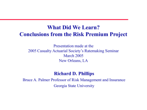 Risk Premium Project – Phase 3 Update