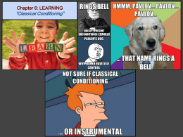 Chapter 6: LEARNING *Classical Conditioning*