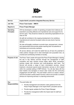 Job Specification for NM619 - Team Leader, HMP Kirkham