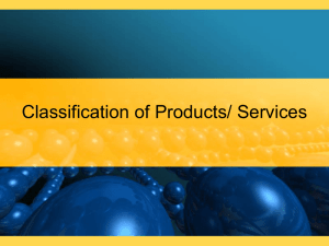 Classification of Products and Services