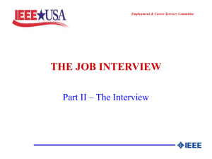 the job interview - IEEE-USA