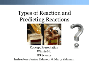 Types of Reaction and Prediction Reactions