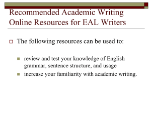 Recommended Academic Writing Online Resources for EAL Writers