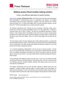 Watkiss powers Ricoh booklet making solution