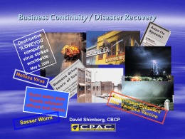 Business Continuity/Disaster Recovery/Flu
