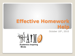Effective Homework Help - Tennessee Opportunity Programs