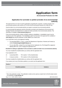 Application for surrender or partial surrender of an environmental