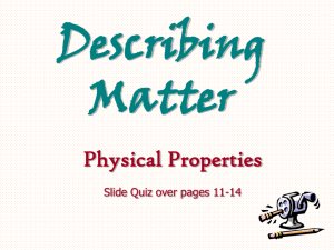 Describing Matter - Junction Hill School