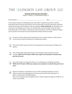 Required Document Checklist - The Ellingson Law Group, LLC