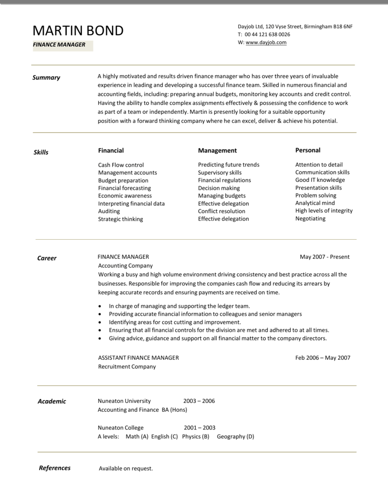 Finance Manager Cv Template