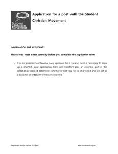 application form - Student Christian Movement