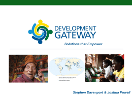 Development Gateway: Solutions that Empower