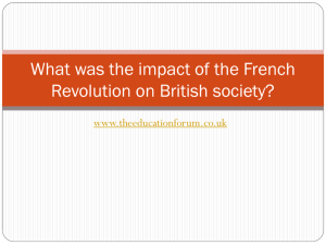 What was the impact of the French Revolution on British society