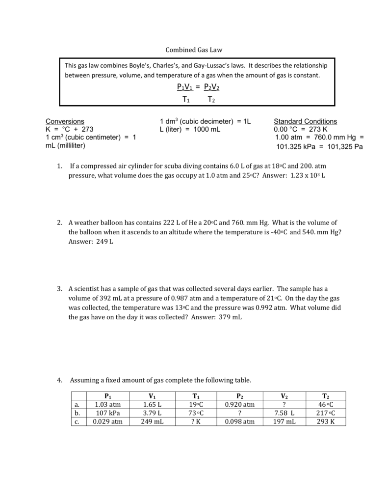 Gay Lussac and Combined Gas Law – Combined Gas Law Worksheet Answers