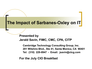 The Sarbanes-Oxley Act and its Implications for the Accounting