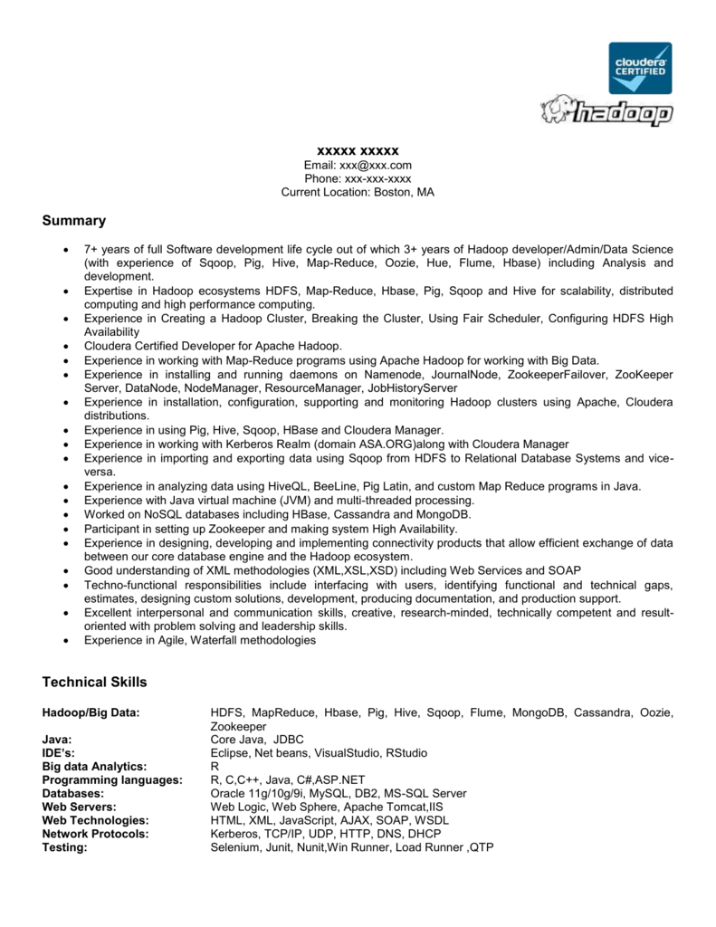 Hadoop Sample Resume