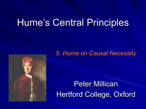 Lectures on Hume's Treatise: 1 - Philosophy at Hertford College