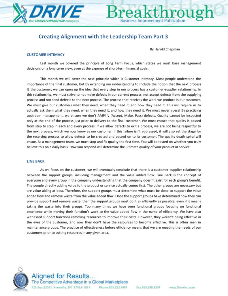 Creating Alignment with the Leadership Team Part 3