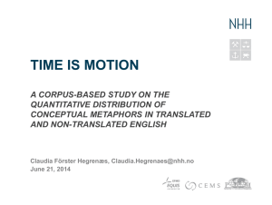 TIME IS MOTION A corpus-based study on the quantitative
