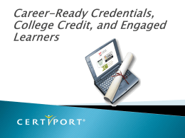 Certification Preview - Certiport - Educating for Careers Conference