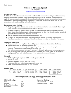 Advanced Algebra (North) Syllabus