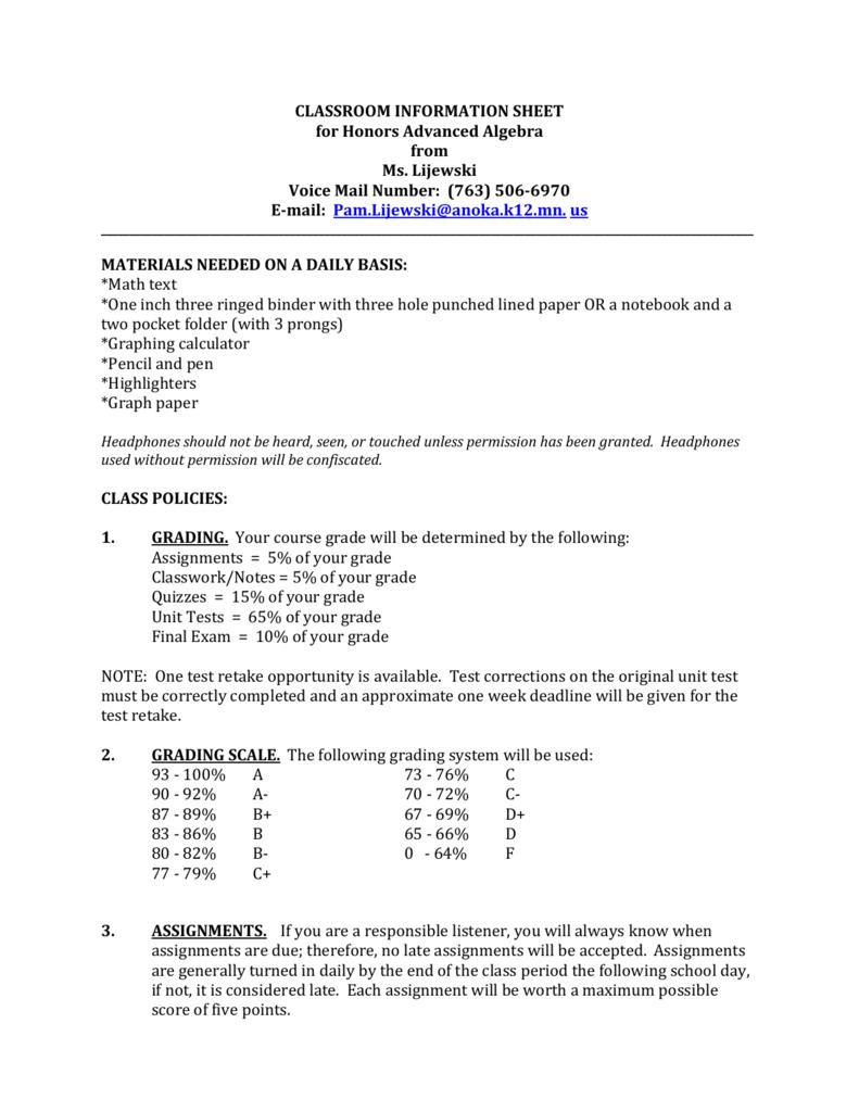 Honors Advanced Algebra Class Syllabus