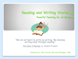 Reading and Writing Workshop - Reading-Writing-Workshop