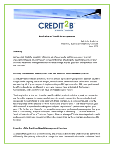 Evolution of the Traditional Credit Management Function