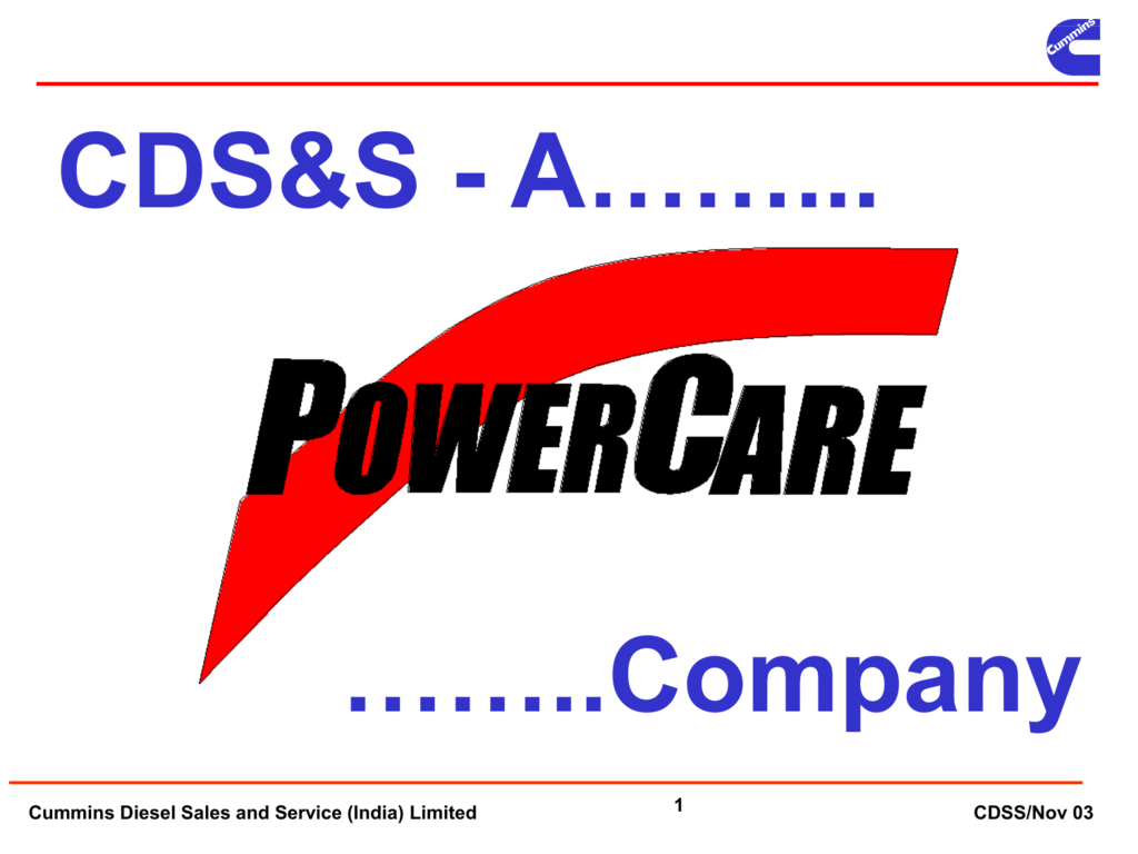 CS&S Overview 2003 - Cummins Information Portal