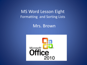 Introduction to MS Word - BBrown-IBA