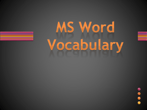 MS Word Vocabulary