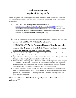 Nutrition Assignment (updated Spring 2015)