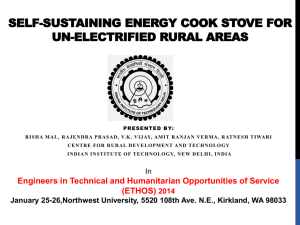 Energy cook stove for off grid rural areas