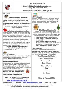 ST JOHN FISHER CATHOLIC SCHOOL NEWSLETTER