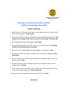 The Jeans for Genes Secondary Schools GENEral Knowledge Quiz