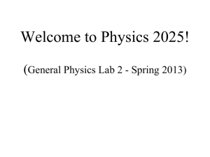 General Physics Lab 1 Introductory Meeting