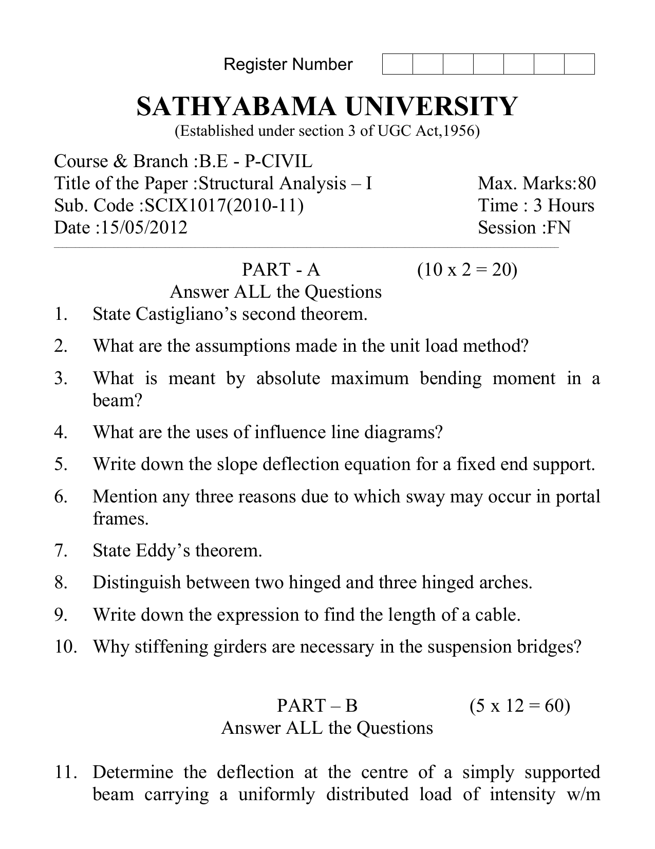 Sathyabama University Tutorial On How To Calculate Shear Force In Beams Bending