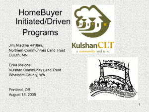 HomeBuyer Initiated/Driven Programs