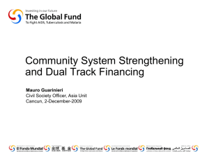 community system strengthening and dual track financing []