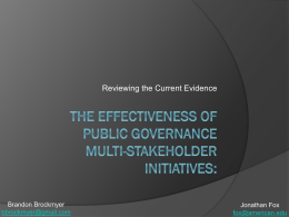 The Effectiveness & Impact of Public Governance Multi